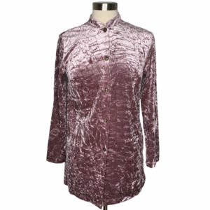 Vintage 90s Crushed Velvet Tunic Button Down Top